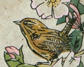 Wren in Roses lino cut print