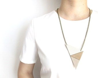 Triangle Leather Necklace Geometric necklace