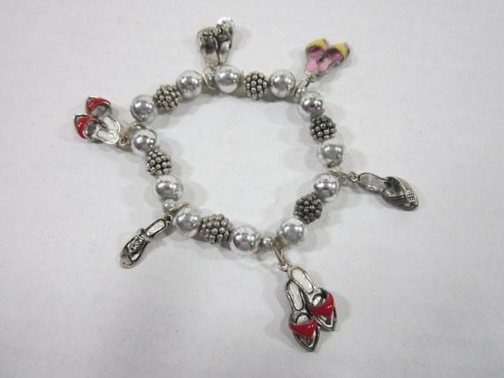 Shoe Charm Bracelet Vintage Stretch Beaded Shoe Charms Jewelry Free Ship