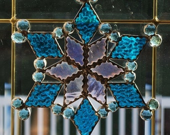 Stained glass baby blue snowflake