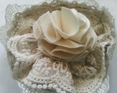 Ecru rustic mori girl accessory shabby chic tea stained lace brooch