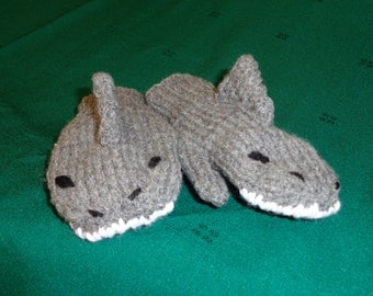 Hand Knit Children's Shark Mittens- small