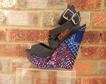 Ankle Strap Open toe Wedge, Wege Sandal, open toe shoes, Ankara shoe (UK Size 6)