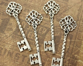 10 Key Charms Key Pendants Antique Silver Tone Skeleton Keys 63 mm/ 2 11/16 inch