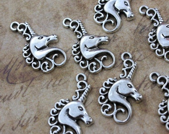10 Unicorn Charms Unicorn Pendants  Antiqued Silver Tone 15 x 23 mm