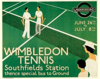 Art Print Wimbledon Tennis 1933,  London Underground Railway Poster Print 8 x 10