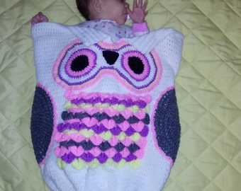Crochet Owl Cocoon w/ Matching Hat