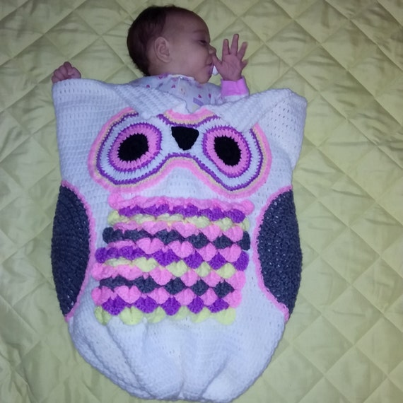 Crochet Owl Cocoon w/ Matching Hat by FulLoveItBoutique on Etsy
