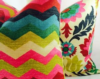Waverly Santa Maria Desert Flower & Panama Wave Pillow slipcover only