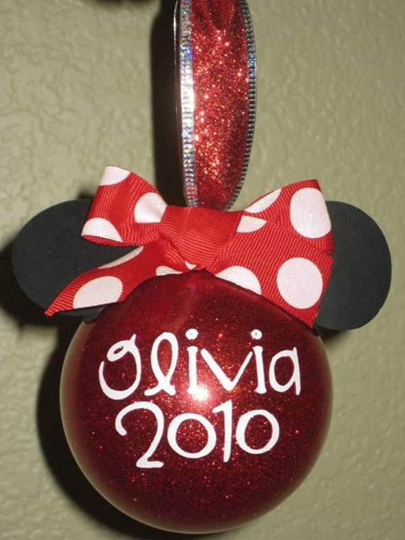 Minnie Mouse Ornament Red Polka Dot Personalized 2016 Minnie