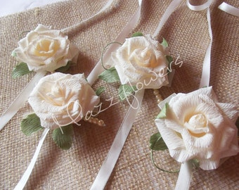 Bridal corsage, bracelet, wedding corsage,paper flower, corsage for mothers, paper flowers, roses,wedding flower.