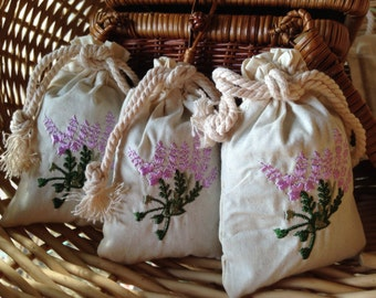 Embroidered Organic Sachet ~ Handmade Lavender & Chamomile Herbal Pouch ~ Buds, Flowers for Scenting Drawers, Soaking, Drying Clothes, Etc.