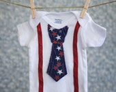 4th of July Onesie, with Tie, Shirt, Outfit, Clothes, Toddler, Boy, Gift, Fourth July baby, Newborn, Bodysuit, Creeper, 4th, first birthday