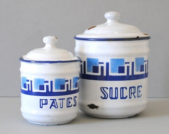 Vintage French Enamel Jars