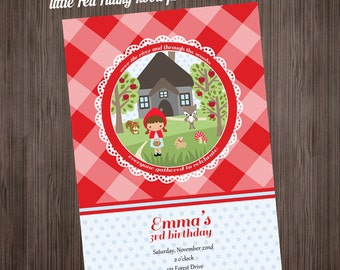 Little Red Riding Hood PRINTABLE Invitation - Birthday or Baby Shower