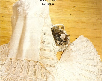 PDF Knitting Pattern Lacy Baby Shawls PATONS 8008 Fairytale 2/3 Ply Christening Instant Download