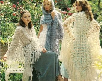 PDF Knitting and Crochet Pattern Lady's Long Fringed Shawls Retro 1970's Sirdar 5881 Instant Download
