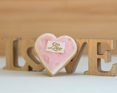 Pink  Loveheart cookie - freshly baked, floral design