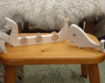 whale and longship set viking replica whale road toys handcarved