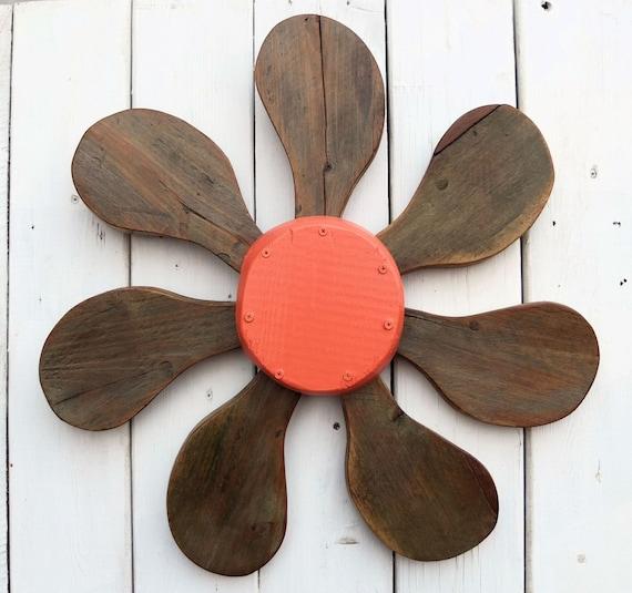 Wood Flower Wall Decor : Bohemian wall art salvaged wood wooden flower by