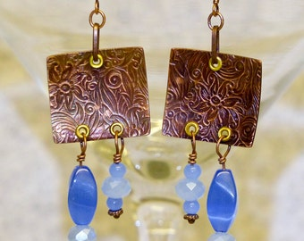 Copper and Glass Bead Earrings