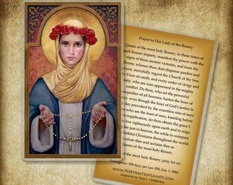 Our Lady of the Rosary Holy Card or Wood Magnet  #0041