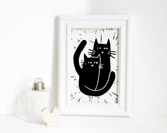 The two cats - linocut original print with black ink