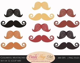 Colorful Mustache Clipart, Moustache Clipart, Mustache Clip art - Instant Download