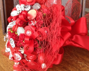 Valentine Bridal Button Bouquet
