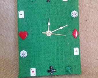 Game Room Clock, Poker Clock, Quartz Clock,  Home Decor, Handmade Clock, Playing Card Clock, Green Clock, Game Room Decor,