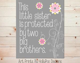 Pink Gray Nursery Decor This little Sister Print Nursery Wall Decor Girls Room Art Decor Gray Nursery Print Baby Sister Print #0816