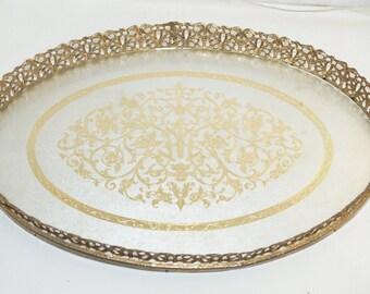 "Vintage Gold Tone Gilt Filigree Glass Dresser Vanity Tray 15"" Decor"