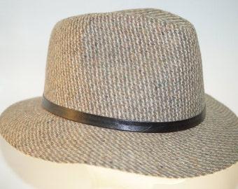 Vintage Tweed Fedora Hat Made in Korea Large 7 1/4- 7 3/8