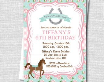 Sweet Pink and Blue Floral Horse Birthday Party Invite - Horseback Riding Party - Digital Design or Printed Invitations - FREE SHIPPING