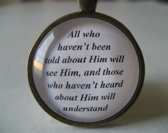 Scripture Necklace Bible Verse Romans 15:21 All Who Haven't Been Told About Him Will See Him