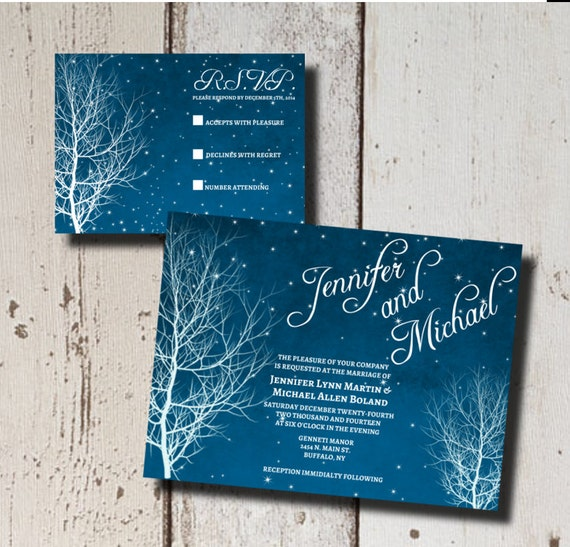 Winter Wedding Invitation Suite-Printable- Starry Nite-Branch-DIY-Custom-Blue-White-Stars