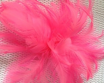 Candy pink feather fascinator hair clip