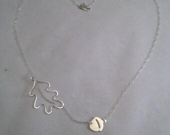 Oak Leaf & Acorn Sterling Silver Necklace (BL0052a)