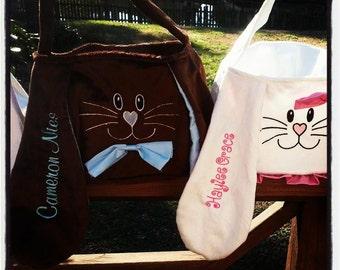 Personalized Easter Basket, Bunny Basket, Easter Bunny Basket, Monogrammed Easter Bunny Basket, Monogrammed Basket, Easter Bucket, Bunny Bag