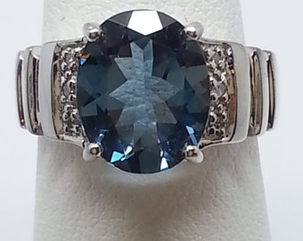 3.15ctw London Blue Topaz & Diamond Sterling Silver Ring Size 5.25