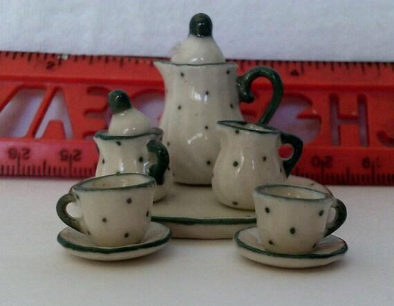 Miniature Hand made ceramic Tea Set - Green Speckles - Dollhouse Scale
