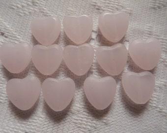12  Light Pink Smooth & Matte Heart Glass Beads  15mm