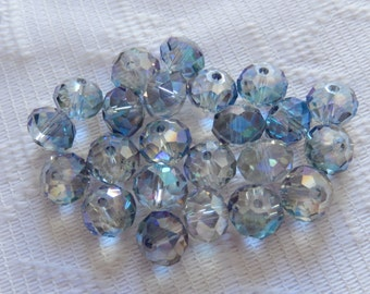24  Blue Purple Clear Vitrail AB Faceted Rondelle Crystal Beads  8mm x 6mm