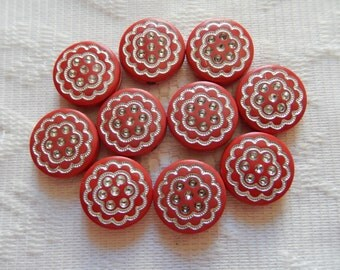 10  Christmas Red & Silver Etched Flat Round Coin Disc Acrylic Beads  17mm