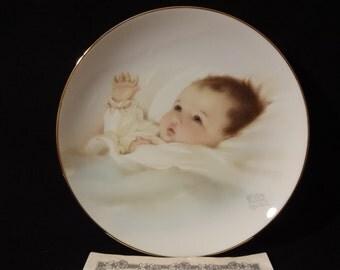 "Bessie Pease Gutman Collectible Plate ""Awakening"" Bundles Of Joy Series 1987"