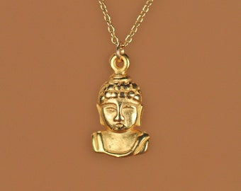 Gold buddha necklace - yoga necklace - gold buddha necklace - a precious little golden buddha head hanging from a 14k gold vermeil chain