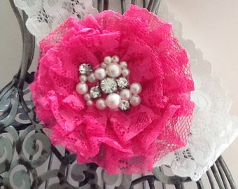Hot pink headband, pink and white lace hair accessory, pearl and lace headband, girls headband, baby headband, lace headband hair accessory