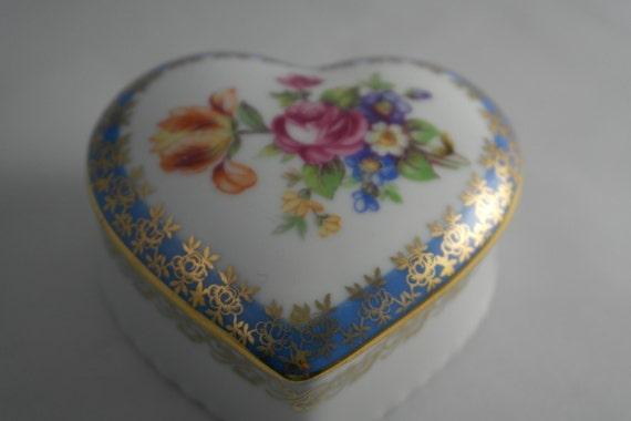 Vintage Dresden China Trinket Box Heart Shaped Trinket Box