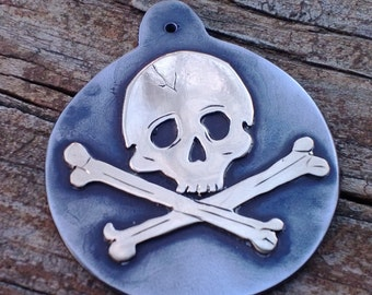 Pirate Jewelry, Skull Necklace, Skull and Crossbones, Pirate Wedding, Pirate Pendant, Pirate Theme, Skull Jewelry, Talisman, Mixed Metal