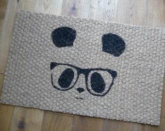 Geek Chic Panda with Glasses Door Mat